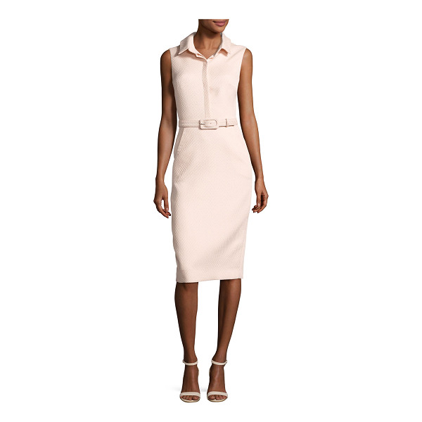 BADGLEY MISCHKA Sleeveless Collared Belted Shirtdress - Badgley Mischka pique dress. Spread collar; placket front....