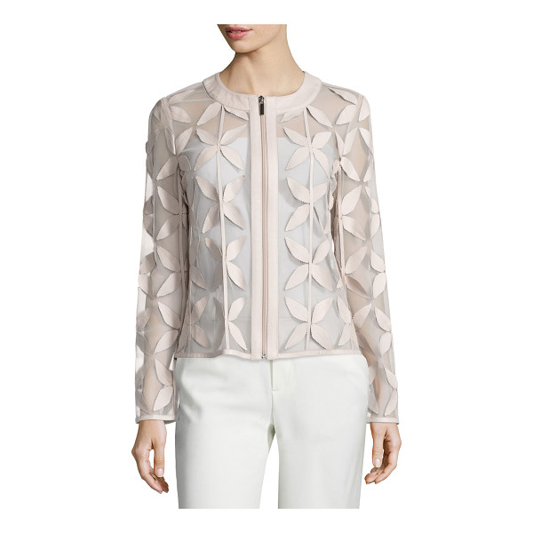 BAGATELLE Leather New Leaf Mesh Jacket - Bagatelle leather and organza jacket in a leaf motif. Jewel...