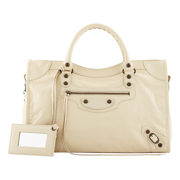 BALENCIAGA Classic City Bag - Balenciaga City bag in cream soft lambskin with aged brass