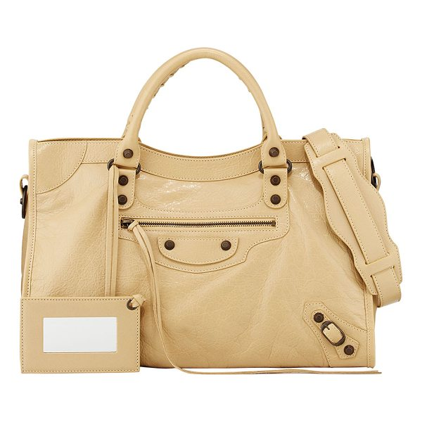 BALENCIAGA Classic City Bag - Beige soft lambskin with aged brass hardware, including...