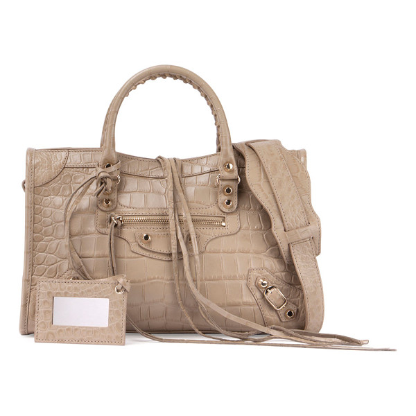"BALENCIAGA Classic City Crocodile-Embossed Shoulder Bag - Balenciaga ""Classic City"" bag in crocodile-embossed leather"