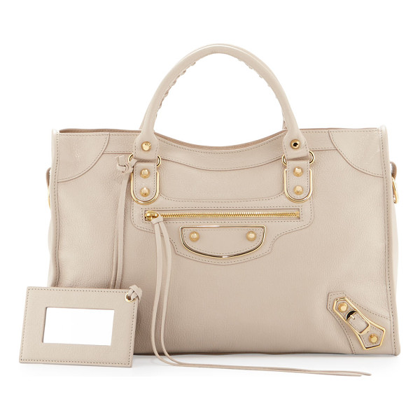 BALENCIAGA Classic Metallic Edge City Bag - Balenciaga grained goatskin bag with metal-edged golden
