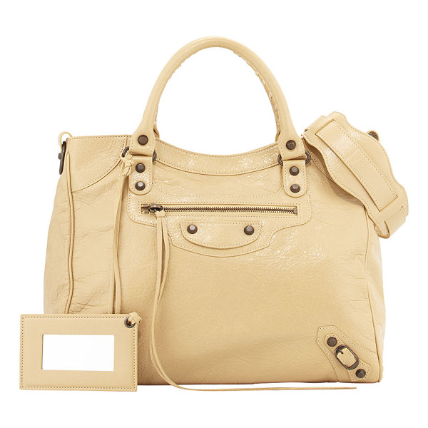 BALENCIAGA Classic Velo Bag - Beige soft lambskin with aged brass hardware, including...