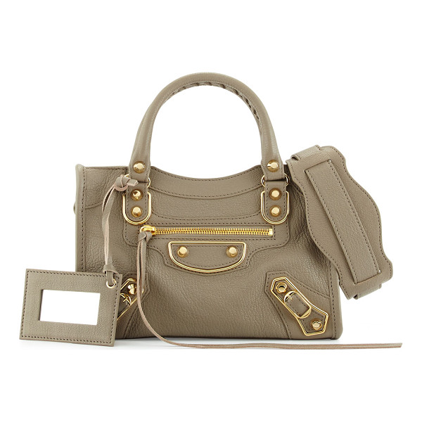 BALENCIAGA Edge City Mini Leather Satchel Bag - Balenciaga pebbled goat leather mini satchel bag. Shiny,