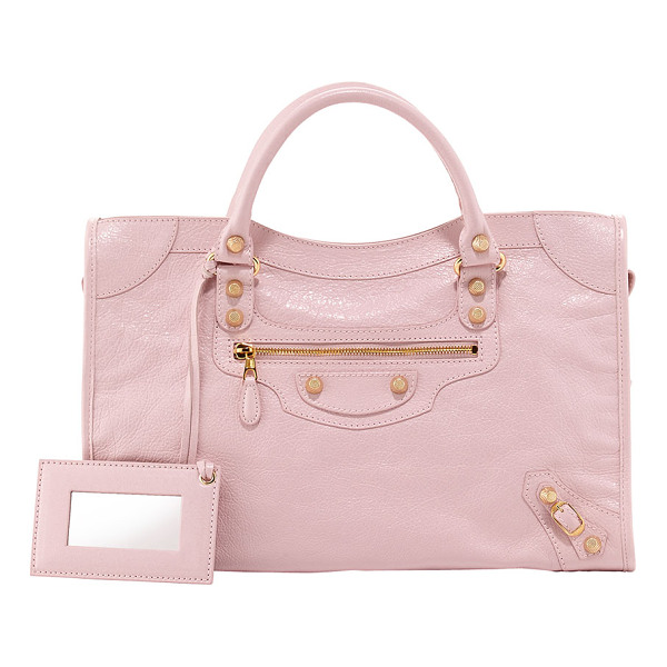 BALENCIAGA Giant 12 golden city bag -  Rose soft lambskin with yellow golden hardware, including...