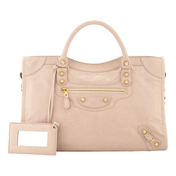 BALENCIAGA Giant 12 golden city bag - Blush lambskin with yellow golden hardware, including stud...