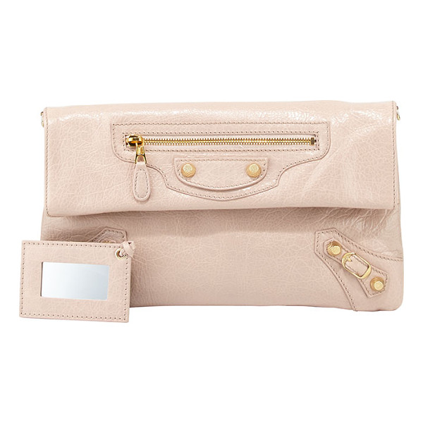 BALENCIAGA Giant 12 golden envelope clutch bag -  Rose azalee soft lambskin with golden hardware, including...