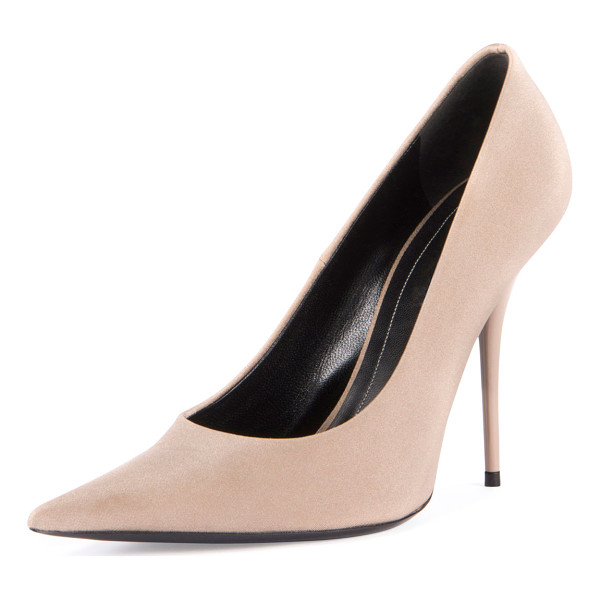 "BALENCIAGA Satin Pointed-Toe 110mm Pump - Balenciaga satin (nylon/spandex) pump. 4.3"" covered heel...."