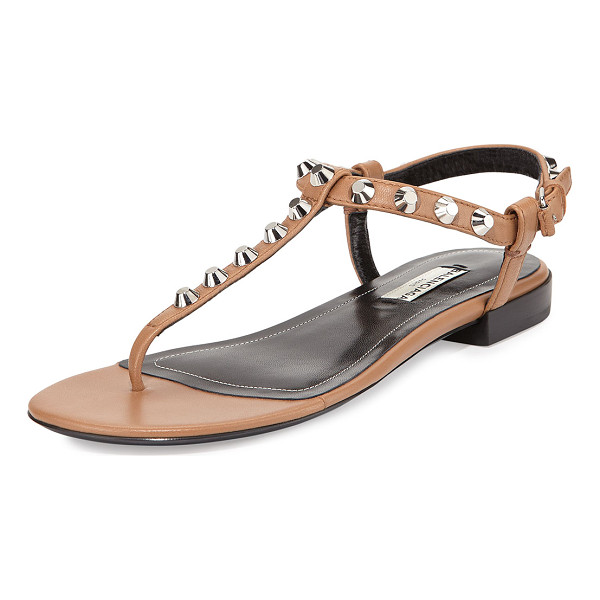 "BALENCIAGA Studded leather thong sandal - Balenciaga lambskin leather sandal. 0. 6"" stacked heel...."