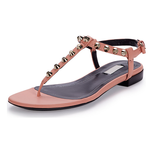 "BALENCIAGA Studded Leather Thong Sandal - Balenciaga lambskin leather sandal. 0.3"" flat heel. Thong"