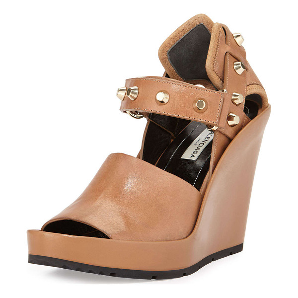 "BALENCIAGA Studded leather wedge sandal - Balenciaga leather wedge sandal with flat-top studs. 4. 5""..."