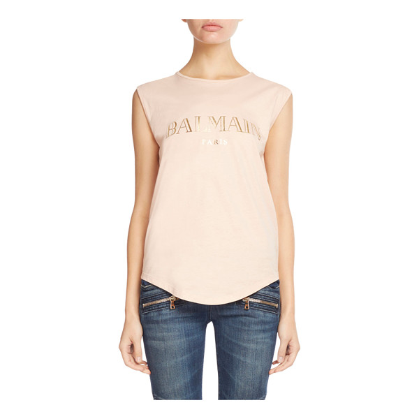 BALMAIN Foiled-Logo Button-Shoulder Tank - Balmain jersey tank with foiled logo print. Signature...
