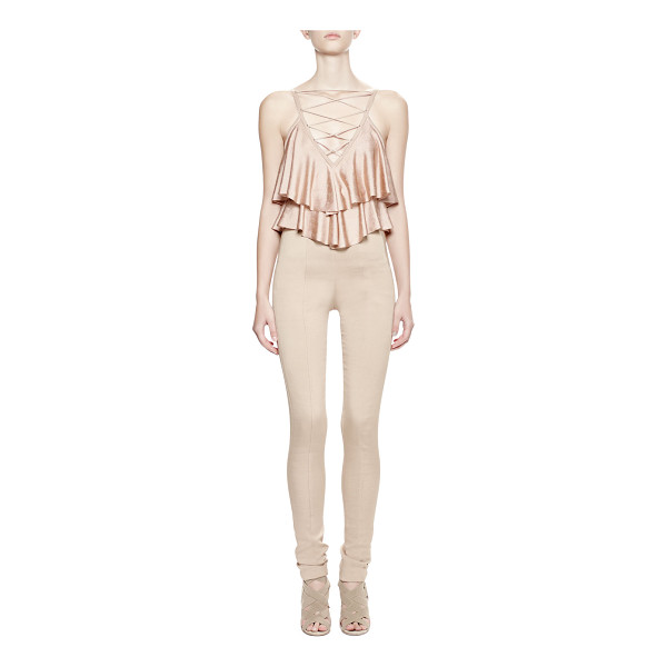 BALMAIN Sleeveless Ruffle-Front Bodysuit - Balmain stretch-knit bodysuit. Plunging V neckline; lattice...
