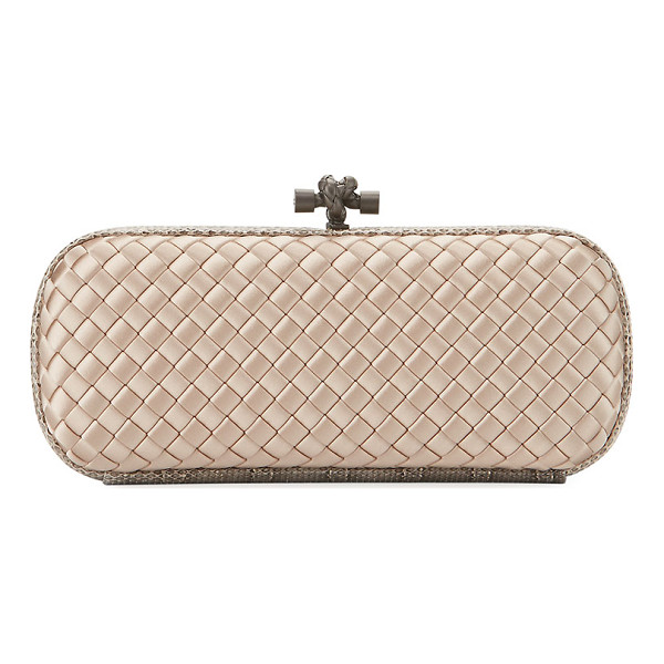 BOTTEGA VENETA Knot Satin Elongated Minaudiere - Bottega Veneta minaudiere in signature intrecciato woven...