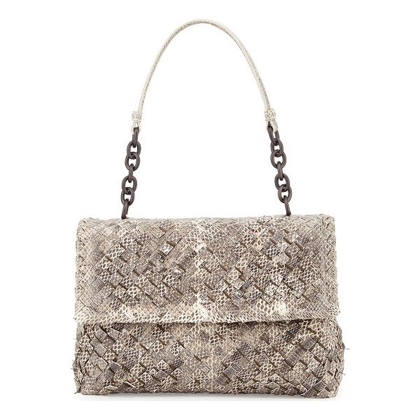 BOTTEGA VENETA Olimpia Tobu Ayers Shoulder Bag - Bottega Veneta woven snakeskin bag. Leather shoulder strap
