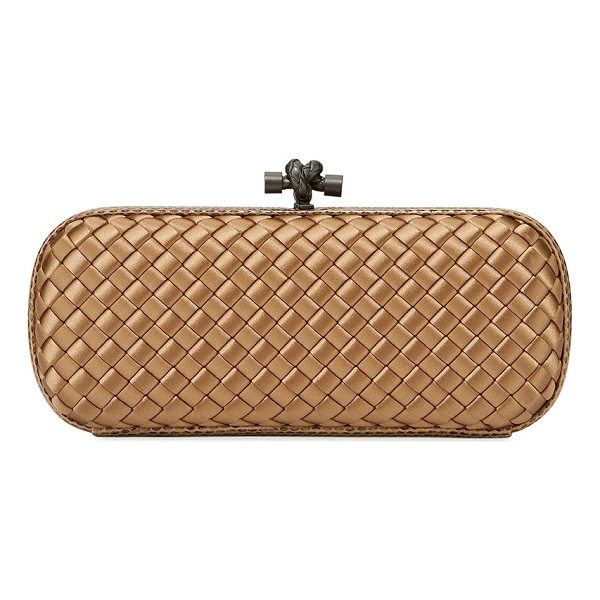 BOTTEGA VENETA Satin Elongated Knot Clutch Bag - Bottega Veneta minaudiere in signature intrecciato woven...