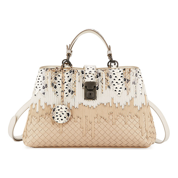 BOTTEGA VENETA Small Flow Wave Snakeskin Tote Bag - Bottega Veneta snakeskin and signature intrecciato woven