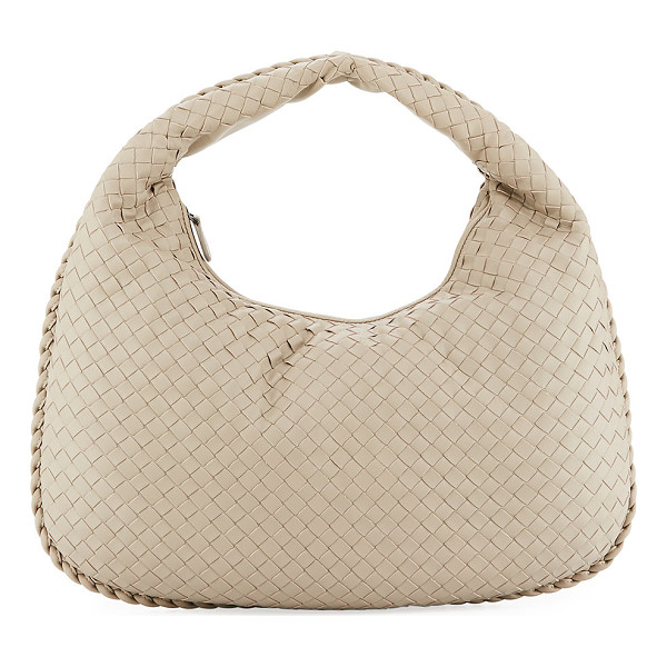 BOTTEGA VENETA Veneta Medium Sac Hobo Bag - Black woven intrecciato napa leather. Gunmetal hardware.