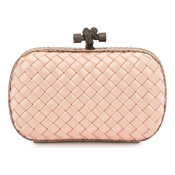 BOTTEGA VENETA Woven Satin Knot Minaudiere - Bottega Veneta satin clutch in signature intrecciato weave....