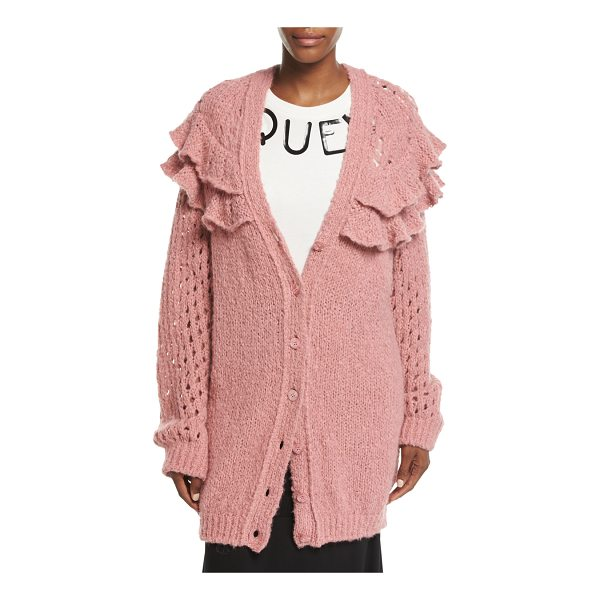 BOUTIQUE MOSCHINO Oversized Ruffled Loose-Knit Cardigan - Boutique Moschino oversized loose-knit cardigan. Two large...