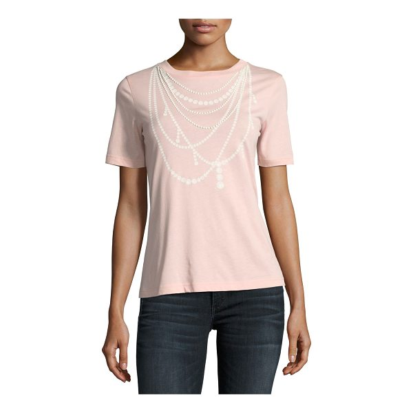BOUTIQUE MOSCHINO Pearl Necklace-Print Tee - Boutique Moschino tee with pearl necklace-print. Crew...