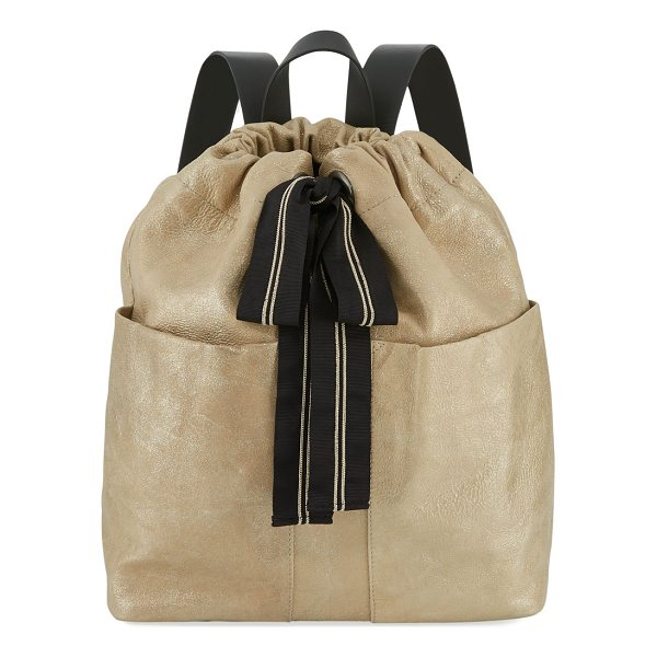 BRUNELLO CUCINELLI Glitter Leather Backpack with Monili Ribbon - Brunello Cucinelli two-tone crinkled and smooth leather...