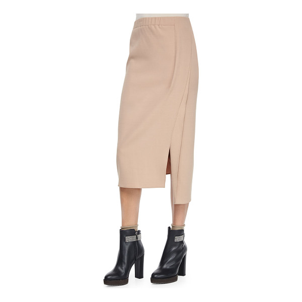 BRUNELLO CUCINELLI Pull-on midi skirt w/slits - Brunello Cucinelli midi skirt in knit. Approx....