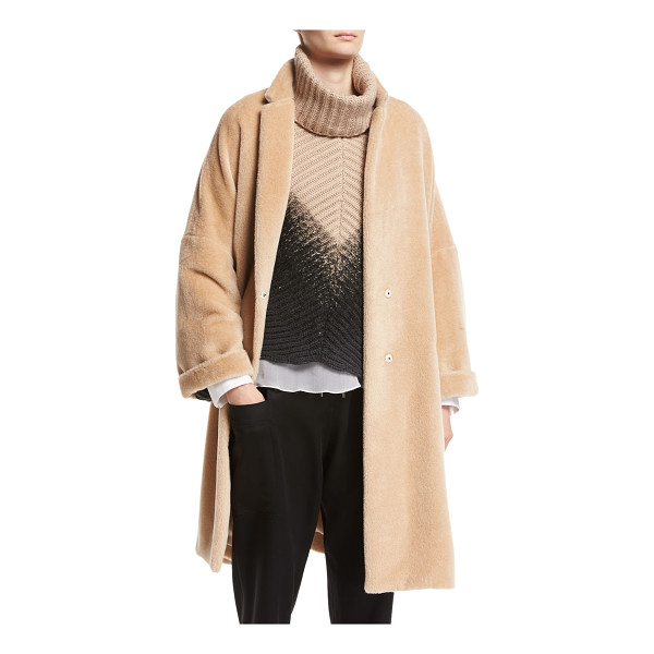 BRUNELLO CUCINELLI Textured Knit Alpaca Car Coat - Brunello Cucinelli car coat in textured knit alpaca. Notch...