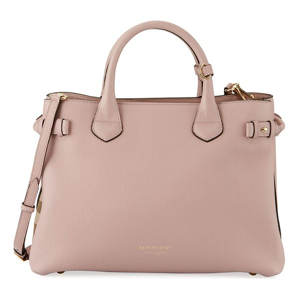 BURBERRY Banner House Check Derby Tote Bag - Burberry derby leather tote bag with signature house check...