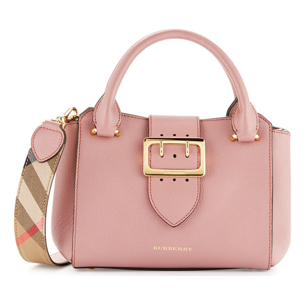BURBERRY Buckle Small Leather Tote Bag - Burberry grained leather tote bag with golden hardware.