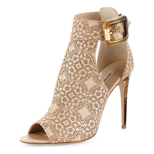 """BURBERRY Canbury laser-cut leather sandal - Burberry laser-cut leather sandal. 4"""" heel with golden logo..."""