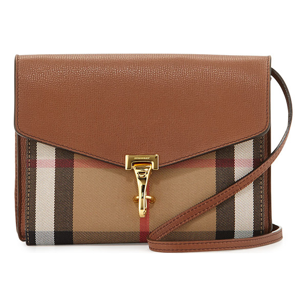 BURBERRY Check & Leather Small Crossbody Bag - Burberry grained leather and check canvas crossbody.