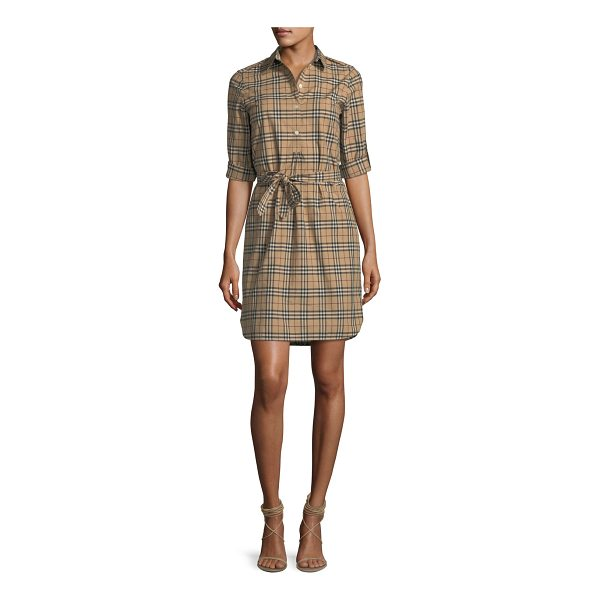 BURBERRY Check-Print Belted Tunic Dress - Burberry tunic dress in signature check-print. Spread...
