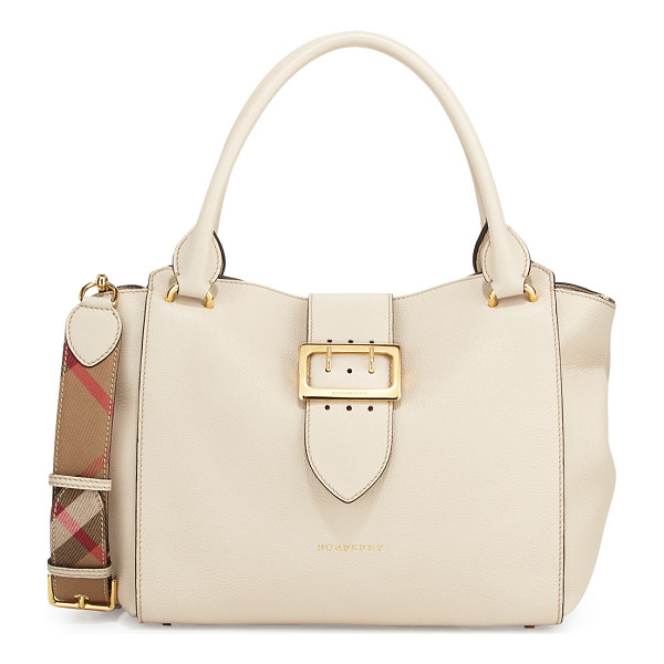 BURBERRY Buckle Medium Tote Bag - Burberry soft grained leather tote bag. Golden hardware.
