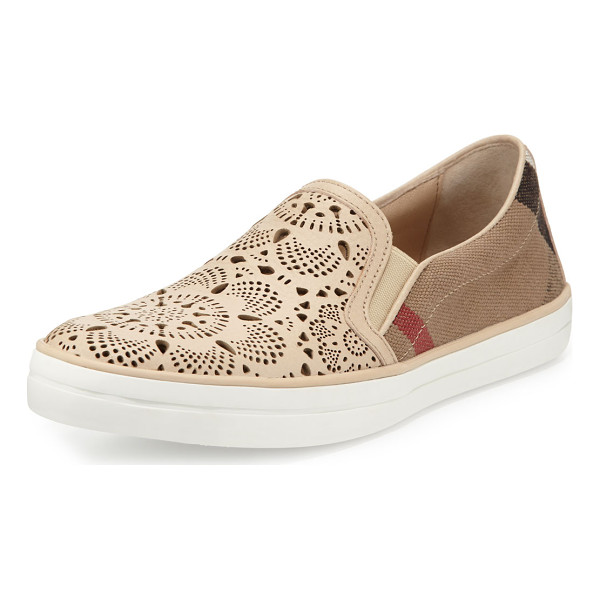 BURBERRY Gauden Check Laser-Cut Slip-On Sneaker - ONLYATNM Only Here. Only Ours. Exclusively for You....