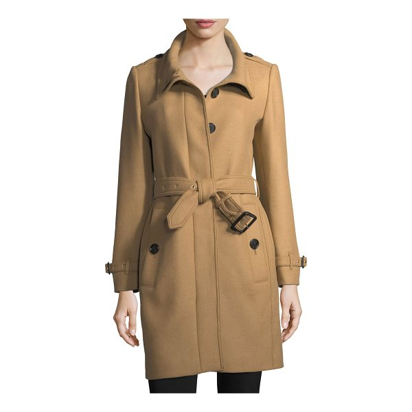 "BURBERRY Gibbs Moores Long Trench Coat - Burberry ""Gibbs Moores"" wool-blend trench coat. Spread..."