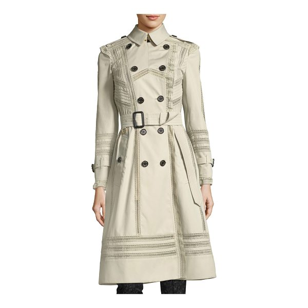 BURBERRY Lace-Trim Double-Breasted Trenchcoat - Burberry lace-trim trenchcoat. Spread collar;...