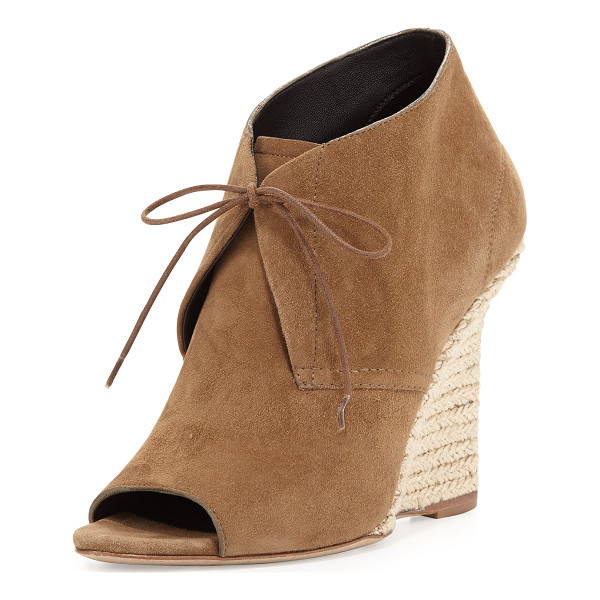 "BURBERRY Lace-Up Chukka Espadrille Wedge - Burberry suede wedge bootie. 4.25"" braided-jute wrapped..."