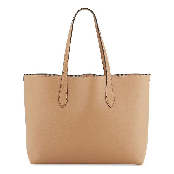 "BURBERRY Lavenby Medium Reversible Check & Leather Tote Bag - Burberry ""Lavenby"" grained leather tote bag. Reverses to"