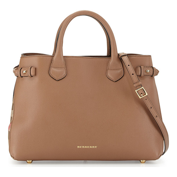 BURBERRY Leather & check canvas tote bag - Burberry leather tote with golden hardware. Signature check...