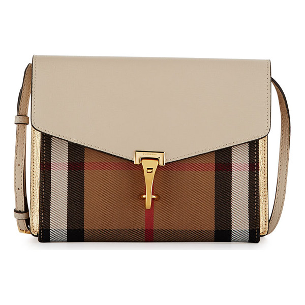 BURBERRY Macken Small Leather & House Check Crossbody Bag - Burberry grained leather and House check canvas crossbody