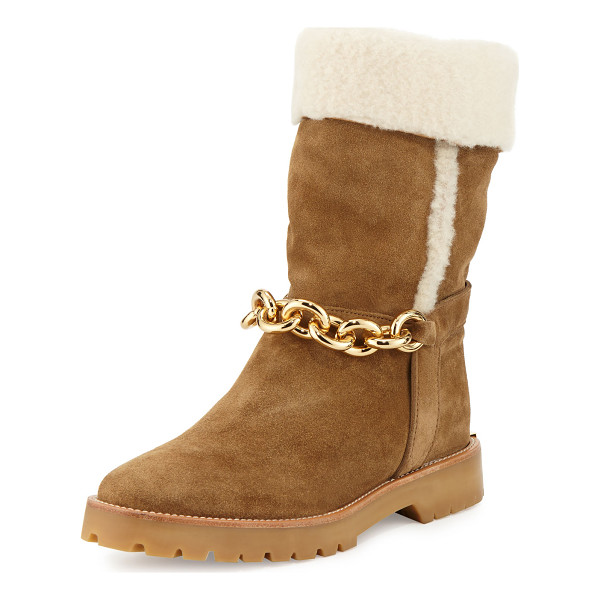 BURBERRY Raywood Fur-Cuff Ankle-Chain Boot - Burberry suede boot with dyed sheep shearling (Spain) fur...