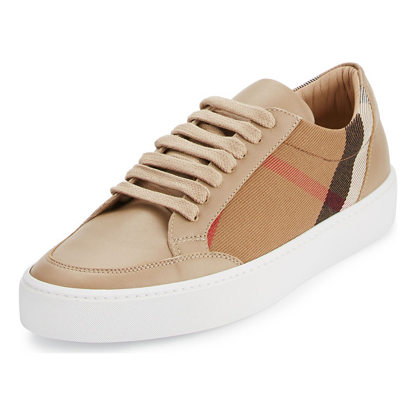 "BURBERRY Salmond Check & Leather Low-Top Sneaker - Burberry check canvas and leather sneaker. 1"" platform..."