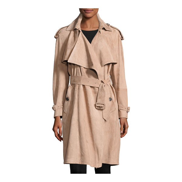 "BURBERRY Sanbridge Suede Wrap Trench Coat - Burberry ""Sanbridge"" draped suede wrap coat. Approx. 39""L..."
