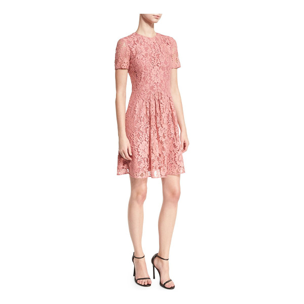 BURBERRY Short-Sleeve Lace Fit-and-Flare Dress - Burberry floral lace dress. Jewel neckline. Short sleeves....