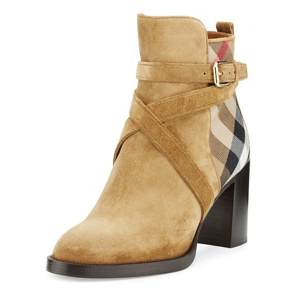 "BURBERRY Vaughan Check & Suede 70mm Bootie - Burberry suede bootie with House check cotton panels. 2.8""..."
