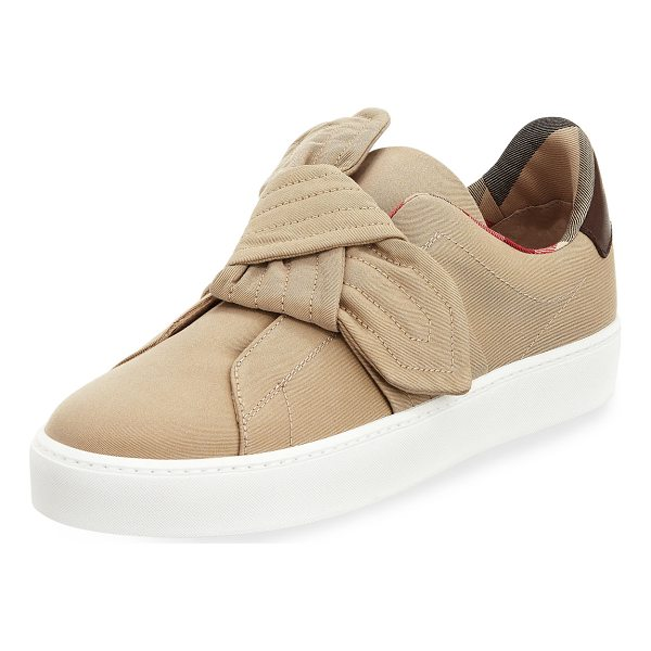 """BURBERRY Westford Fabric Knotted Sneaker - Burberry stitched fabric sneaker. 1.3"""" flat heel with..."""