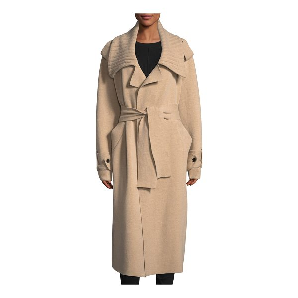 BURBERRY Wool-Blend Long Coat - Burberry tailored coat with ribbed trim. Oversized trench...