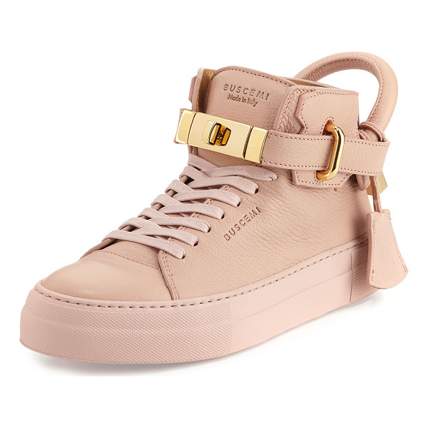 BUSCEMI Women's 100mm Turn-Lock Leather High-Top Sneaker - Buscemi matte goat textured leather high-top sneaker....