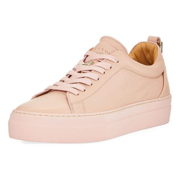 BUSCEMI Alice Calf Leather Platform Tennis Shoe - Buscemi calfskin sneaker with tonal stitching. Flat heel...